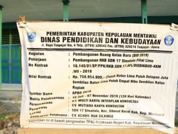 Pembangunan SDN 17 Simatalu Sudah Sesuai RAB