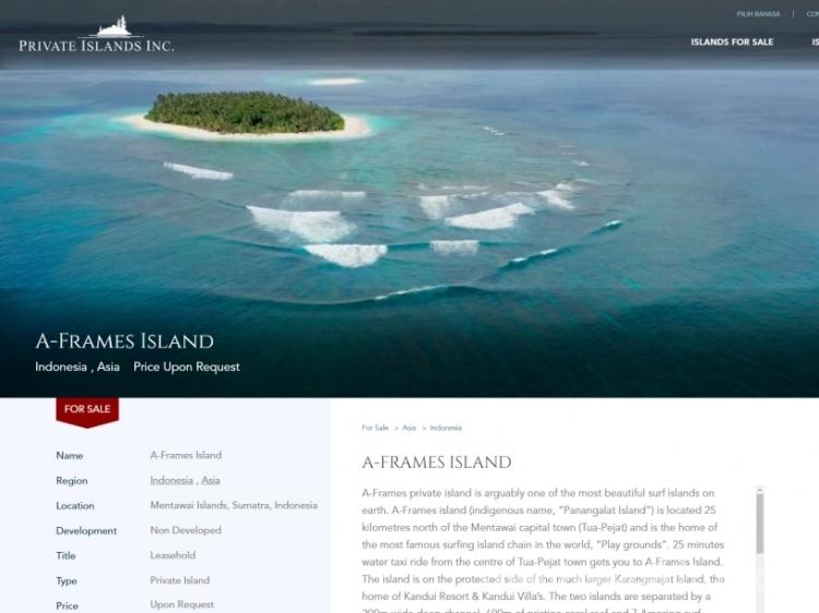 Satu Pulau di Mentawai Dijual Online