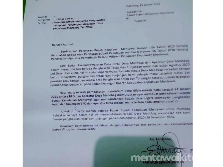 Gaji Tak Dibayar Aparat Pemdes dan Kepala Dusun di Madobag Lapor ke Inspektorat